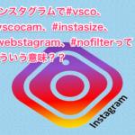 インスタグラムで#vsco、#vscocam、#instasize、#webstagram、#nofilterってどういう意味??